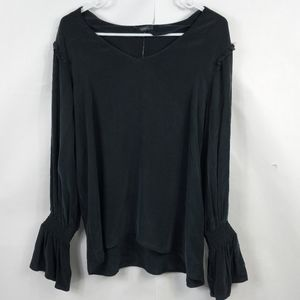 Anthropologie Top Remy DREW Bell Sleeve Navy NWT